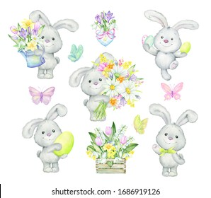 Little bunnies, butterflies, flowers, Easter eggs. Watercolor set, cliparts, on an isolated background. Bunnies, butterflies, flowers, eggs, for Easter and children's holidays.