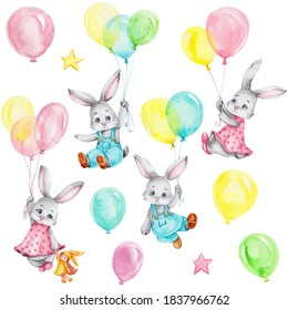 Little bunnies flying on colorful balloons; watercolor hand draw illustration; can be used for baby shower or kid poster; with white isolated background