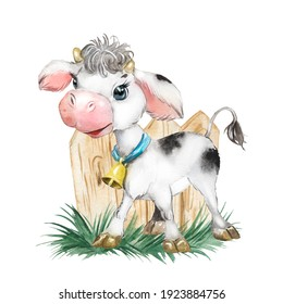 Little calf watercolor illustration, farm, hoofed animal, baby cow child picture