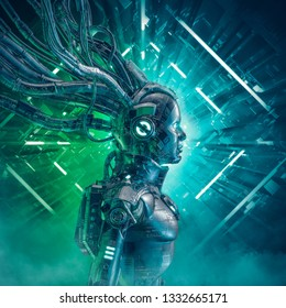 The little carbon girl / 3D illustration of science fiction female android inside neon lit space ship corridor