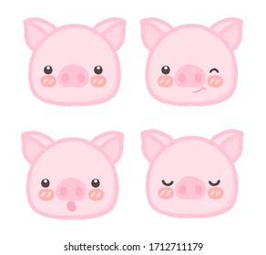 Little cartoon cute pigs characters drawing