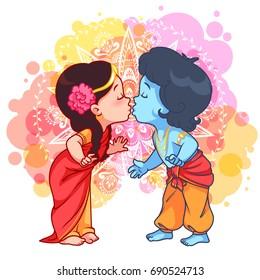 Little cartoon Krishna kissing Radha. Cartoon illustration on a yellow spotted background.