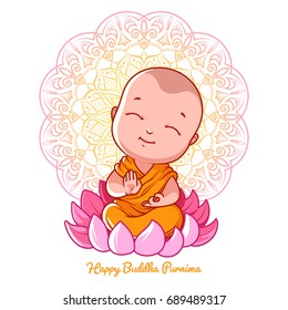 Little cartoon monk on the lotus. Greeting card for Buddha birthday. Illustration isolated on a white background.