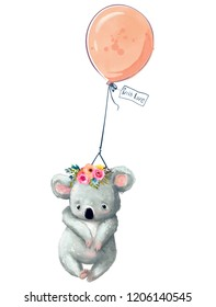 Little coala with balloon