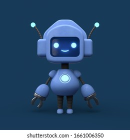 Little cute blue robot with antenna. Friendly kawaii bot with glowing smiling face on the screen. Lovely Robotic Toy. Concept art of funny personal assistant robot. 3d illustration on blue background.