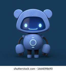 Little cute blue robot with bear ears. Friendly kawaii bot with glowing smiling face on the screen. Lovely Robotic Toy. Concept art funny personal assistant robot. 3d illustration on blue background.