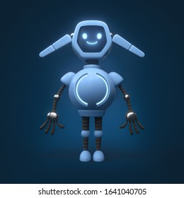 Little cute blue robot with ears. Friendly kawaii bot with glowing smiling face on the screen. Lovely Robotic Toy. Concept art of funny personal assistant robot. 3d illustration on blue background.