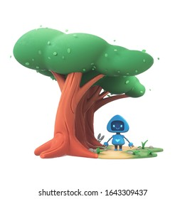 Little cute blue robot walks in the woods along path near large trees. Friendly bot with a smile on the screen enjoys nature. Concept art of technology and nature. 3d illustration on white background