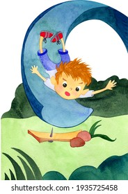 A little cute boy falls from a slide which he was rolling alone on a nail. Watercolor illustrations for postcards, banner, books isolated on white background.