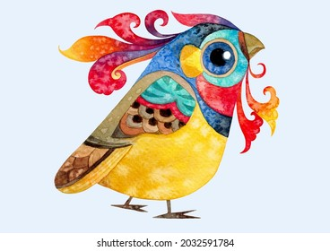 Little cute colorful bird hand made watercolor painting for character design,pattern,wallpaper,clip art,logo,banner,advertising,postcard,textile,background,birds cartoon images,animals illustration.