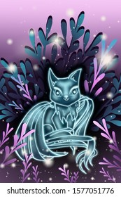 Little cute fantasy blue ghostly animal cat with wings sitting in a clearing surrounded by grass.