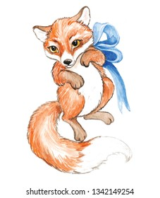 Little cute fox drawn by hand, ideal for children's clothing