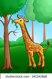 Little Cute Giraffe in the forest. Eat leaves from the tree.