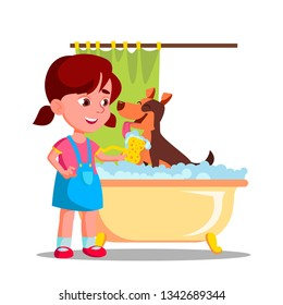 Little Cute Girl Washes A Dog In The Bathroom With Foam Flat Illustration