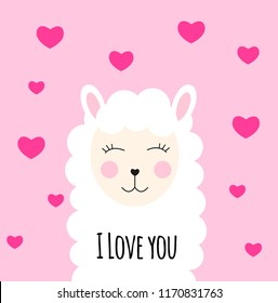 Little cute llama with heart for card and shirt design. I Love you concept.  Illustration