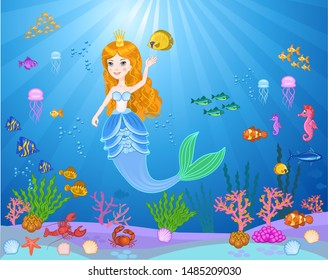 Little cute mermaid with fishes and seashells
