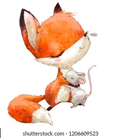 Little Cute watercolor lovely fox with mouse