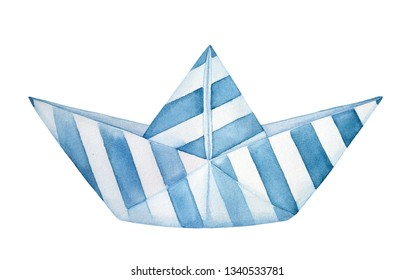 Little decorative folded paper boat decorated with blue stripes pattern. Hand painted watercolour graphic drawing on white backdrop, cut out element for design, summer decoration, nursery room poster.