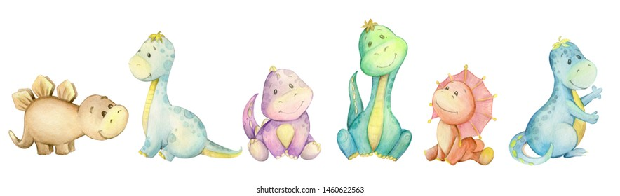 Little dinosaur. watercolor, Isolated background