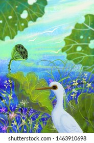 A Little Egret watching fish near water.Beautiful image illustration with digita lpainted for nature illustration,birds cartoon illustration,background,wallpaper,pattern,decoration,clip arts.