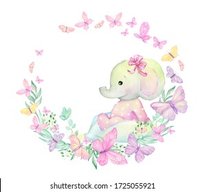 Little elephant, surrounded by butterflies, plants, sits. Watercolor frame. For children's invitations. children's textiles.