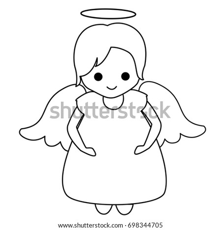 Little Fairy Angel Lineart Kids Coloring Stockillustration 698344705 ...