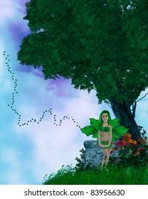 Little fairy standing on a hilltop illustration