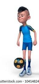 little footballer boy cartoon 3d illustration