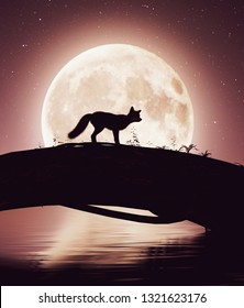 Little fox crossing a river on a tree trunk under the moonlight,3d rendering