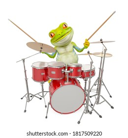 little frog cartoon is playing drum, 3d illustration