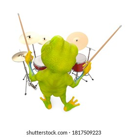 little frog cartoon is playing drum in top rear view, 3d illustration