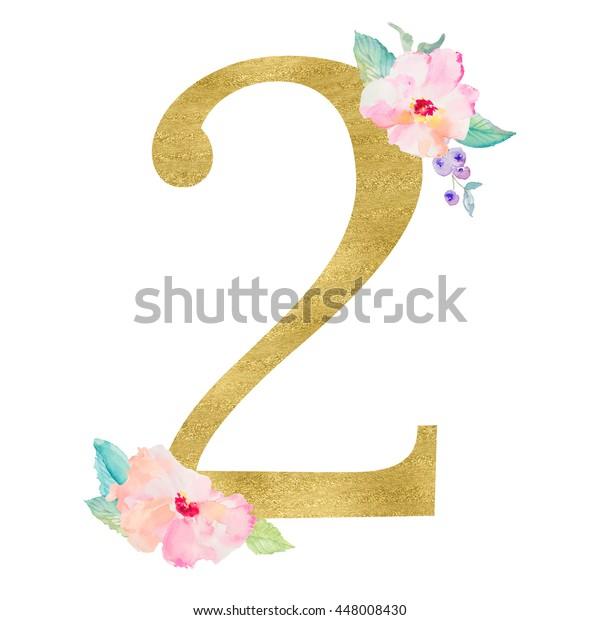 Little Girl 2nd Birthday Monogram Gold Stock Illustration 448008430