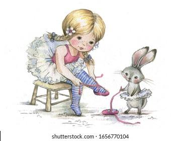 little girl ballerina with a friend Bunny