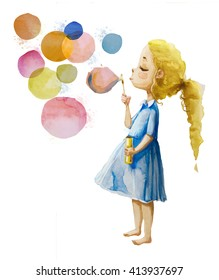 Little girl blowing soup bubbles. Watercolor illustration isolated on white background