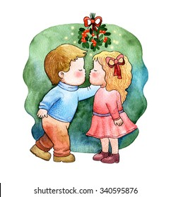 A Little Girl And Boy Kissing Under Mistletoe Watercolor Crayon Illustration