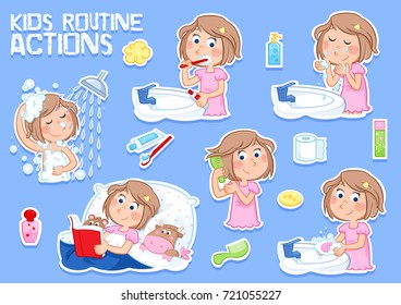 Little girl - daily routine actions
