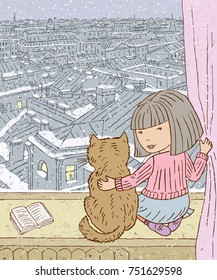 A little girl and her cat are looking out the window at the winter city