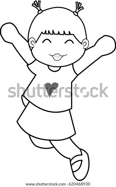 68237f90 Little Girl Jumps Air Black White Stock Illustration 620468930