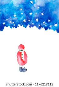 Little girl looking at the starry sky. Dreaming girl. Winter illustration. Happy 2019 New Year.