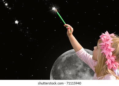 little girl painting a star