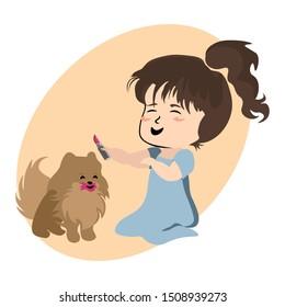 Little Girl Putting Lipstick on Small Dog
