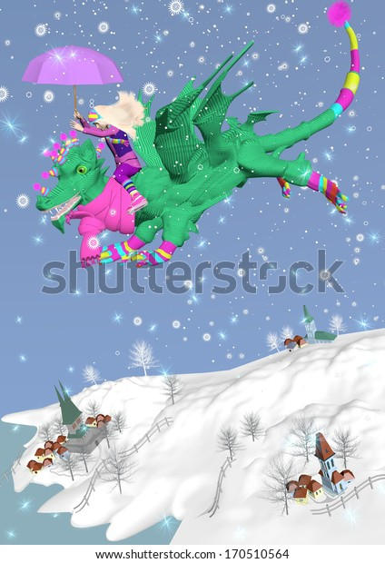 little girl riding a green dragon, flying in the sky in a snowing over a blue background, 3D illustration, raster illustration
