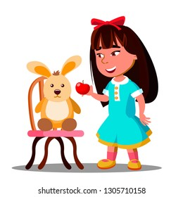 Little Girl Shares One Apple With Her Soft Toy Hare. Illustration