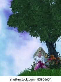 Little girl sitting down on a hilltop illustration