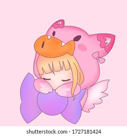 Little Girl While Sleep in Cat Suit with Fish in Cat mouth isolated on  pink background.