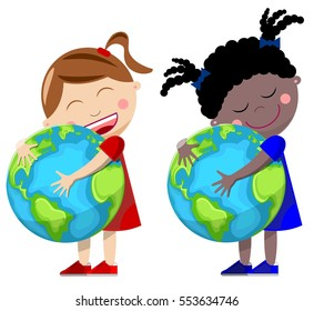 Little girls hugging the Earth isolated