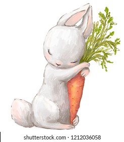 Little hare with carrot.