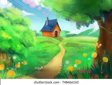little home on the hill. greenery landscape with flowers field and tree. illustration painting
