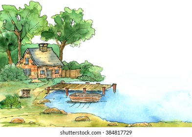 A little house in the backwoods near water . Watercolor illustration can be used as a template for greeting card, post card, invitation card, thank you card, scrap booking paper