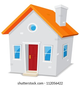 Little House/ Illustration of a cartoon simple small house on white background